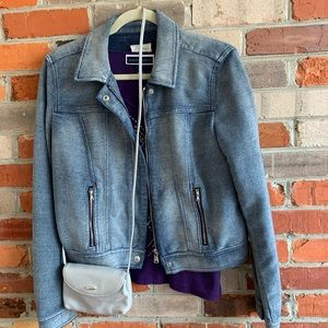 🌸Jeans Jacket Knit Faded Zippered